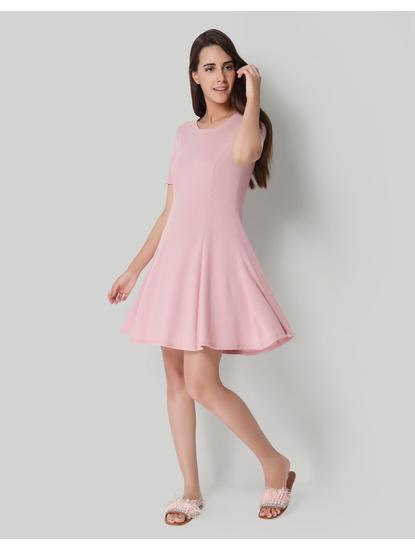Pink Ribbed Skater Dress