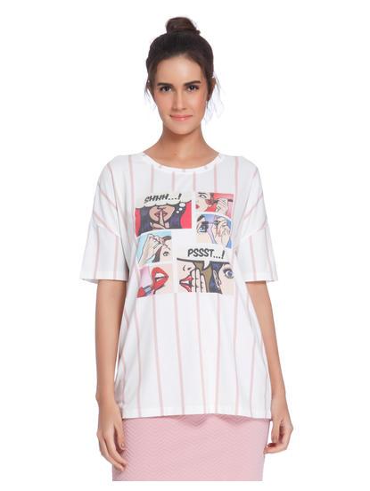 White Striped Comic Strip Print T-Shirt