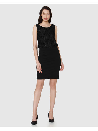 Black Textured Short Bodycon Dress