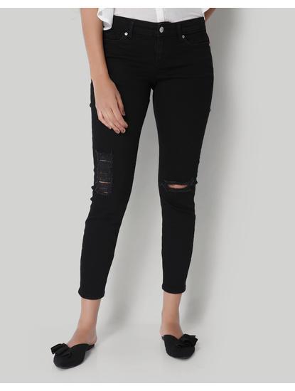 Black Normal Waist Slim Jeans