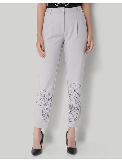 Mickey Grey Origami Print Ankle Length Pants