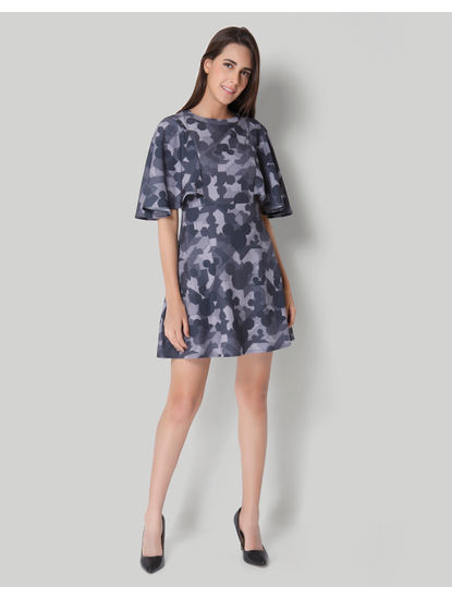 Mickey Grey Camo Print Fit & Flare Dress