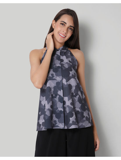 Mickey Camo Origami Print Halter Neck Shirt