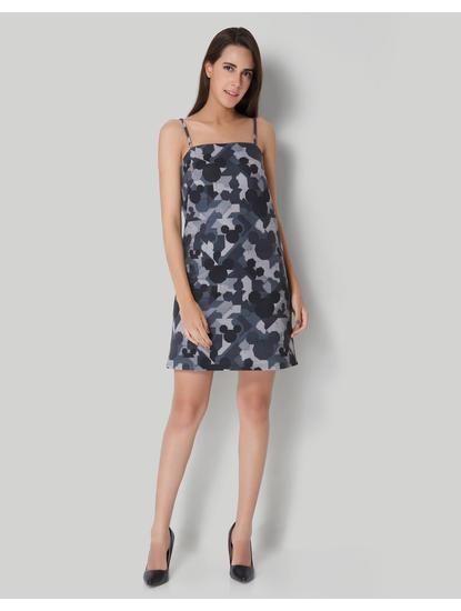 Mickey Grey Camo Origami Print Sheath Dress