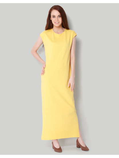 Yellow Cap Sleeves Maxi Dress