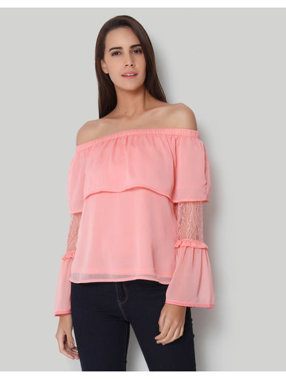 Peach Off Shoulder Tiered Sleeves Top