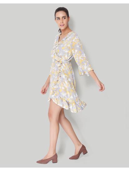 Grey Printed Ruffle Wrap Mini Dress