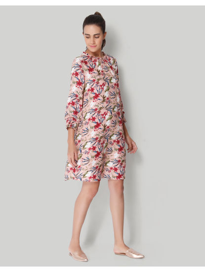 Pink All Over Floral Print Shift Dress