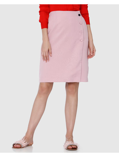 Pink Button Detail Wrap Skirt
