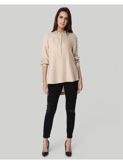 Beige High Low Linen Shirt