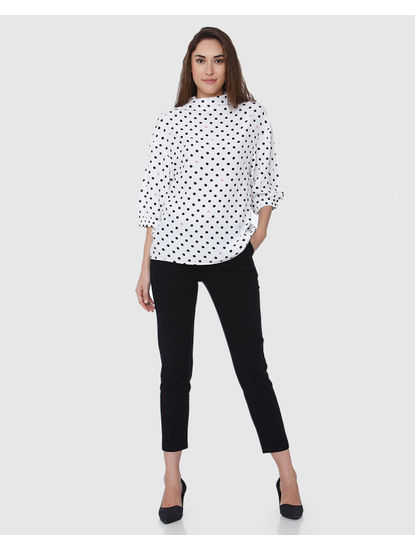 White Polka Dot Top