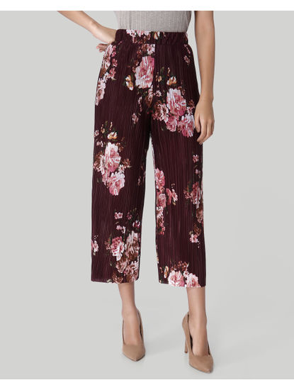 Burgundy Floral Print Pleated Culottes