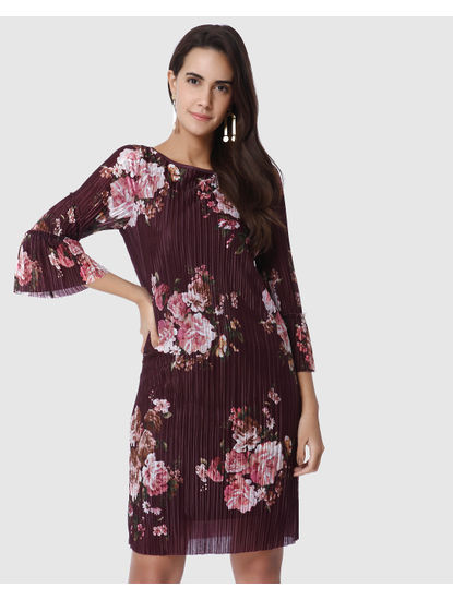 Burgundy Floral Print Pleated Shift Dress