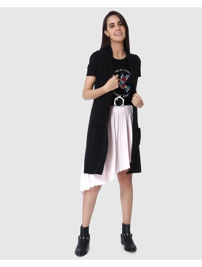 Black Long Sleeveless Cardigan