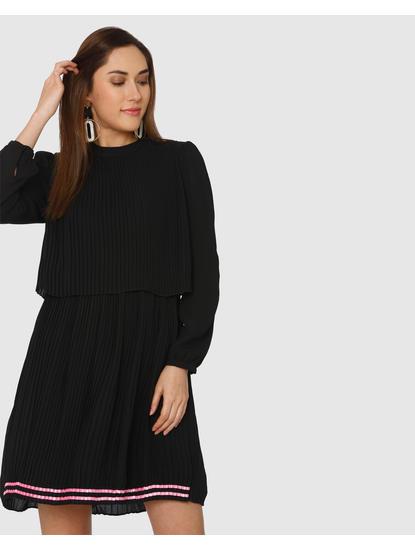 Black Pleated Contrast Hem Shift Dress