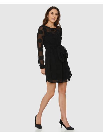 Black Polka Dot Sheer Shift Dress