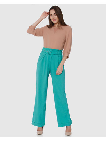 Sea Green High Waist Belted Flared Pants