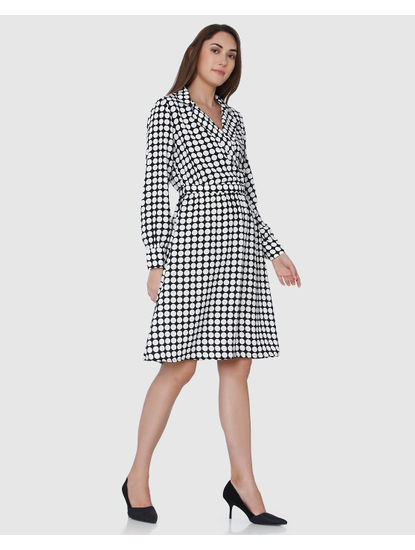 Black Polka Dot Wrap Shift Dress