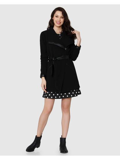 Black Overlap Long Jacket
