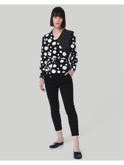 Black Polka Dot Wrap Shirt