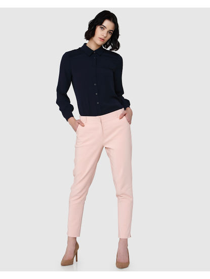 Pink Mid Rise Slim Fit Pants