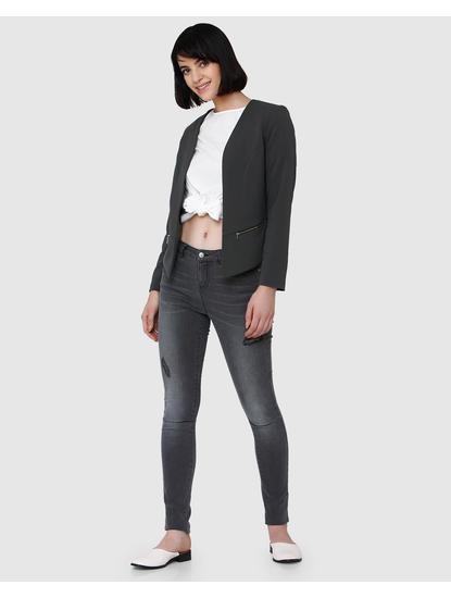 Grey Collarless Zip Detail Front Open Blazer