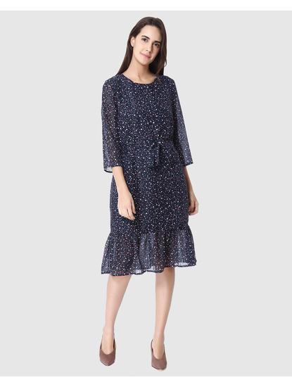 Dark Blue Printed Midi Dress