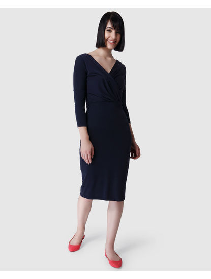 Dark Blue Sheath Dress