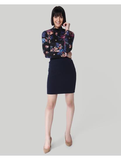 Dark Blue Knit Mini Skirt