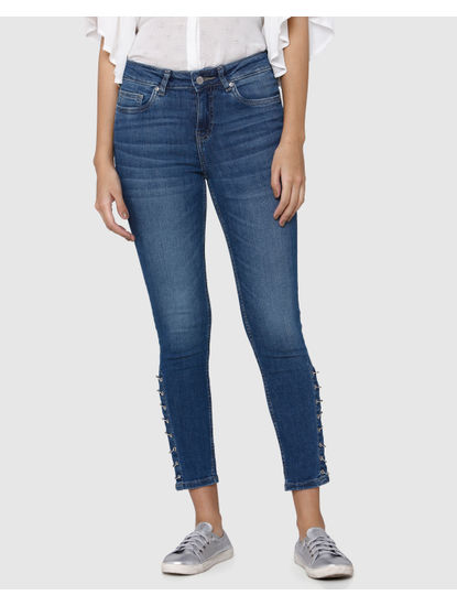 Blue Mid Rise Eyelet Detail Skinny Fit Jeans