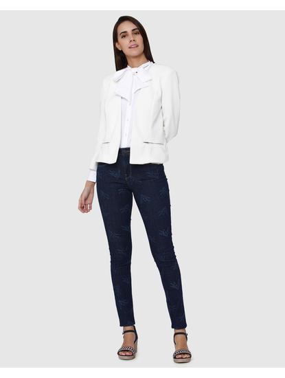 Dark Blue Printed Mid Rise Skinny Fit Jeans