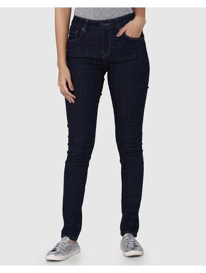 Dark Blue Lazer Stripes Mid Rise Skinny Fit Jeans