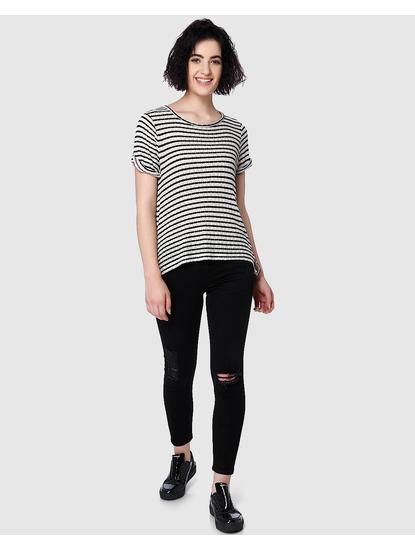 Black Striped String Detail T-Shirt