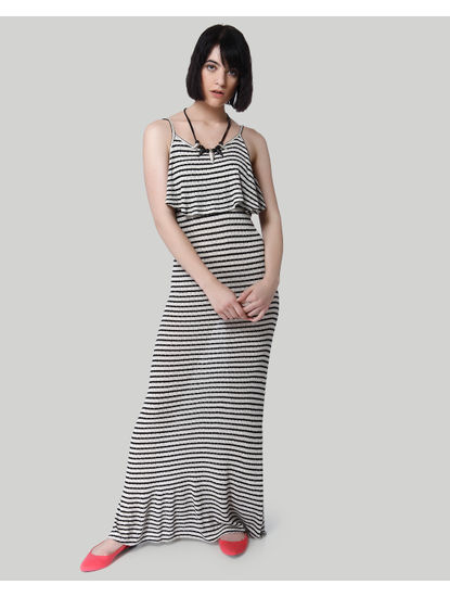 Black Striped Strappy Maxi Dress