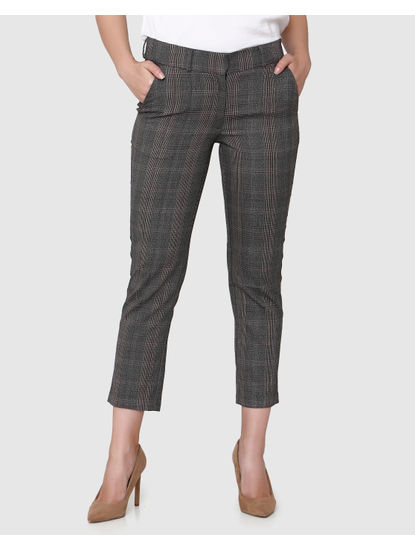 Grey Mid Rise Plaid Cropped Pants