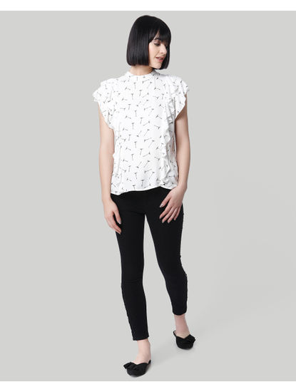 White All Over Print Tiered Sleeves Top
