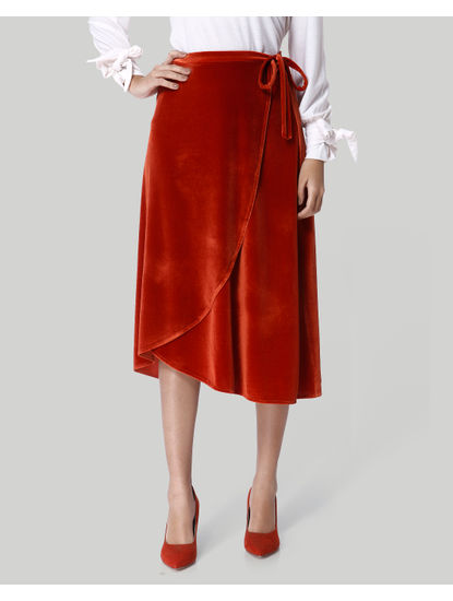 Rust Faux Velvet Wrap Midi Skirt