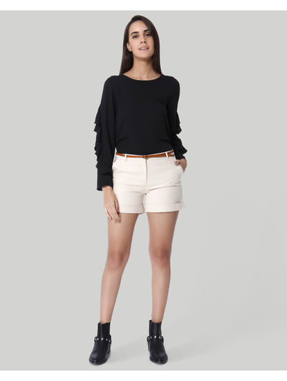 Beige Mid Rise Regular Fit Shorts