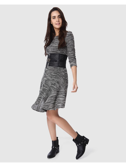 Grey Textured Asymetrical Mini Dress