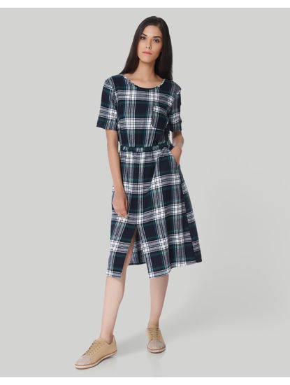 Green Check Midi Dress