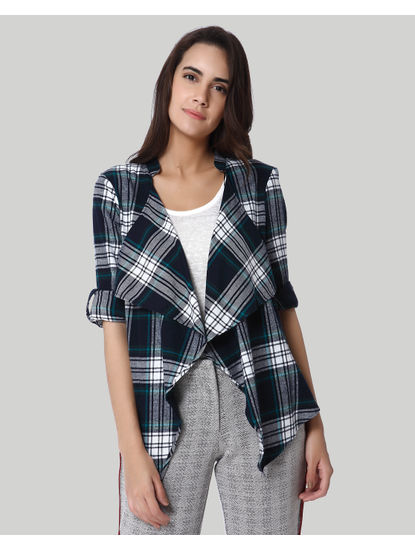 Green Check Front Open Cardigan
