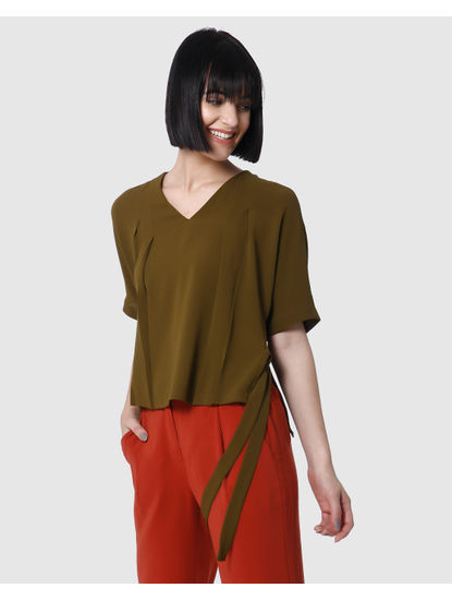 Olive Green Side Knot Detail Top