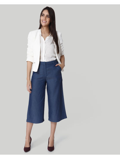 Blue Mid Rise Culottes