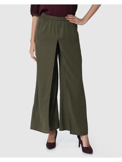 Olive Green Wide Leg Pants