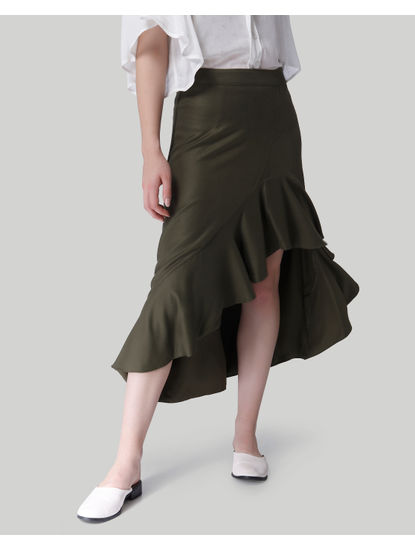 Olive Green Ruffle Detail Midi Skirt