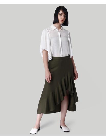 Olive Green Ruffle Detail Midi Skirt