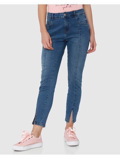 Light Blue Mid Rise Front Slit Skinny Fit Jeans