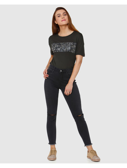 Grey Mid Rise Knee Ripped Skinny Fit Jeans