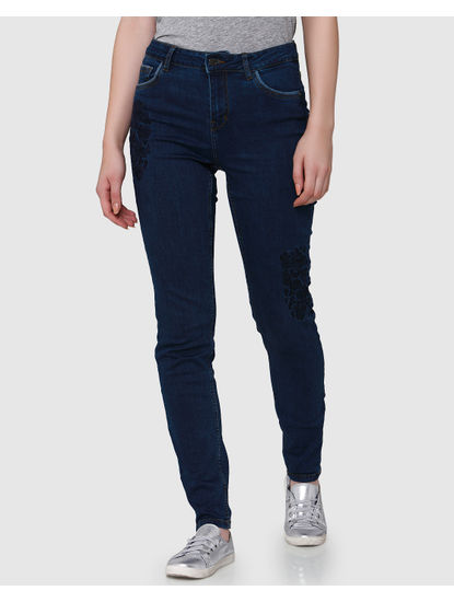 Dark Blue Embroidered Mid Rise Regular Fit Jeans