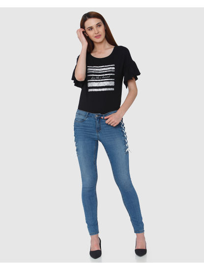Blue Mid Rise Side Tie Up Skinny Fit Jeans